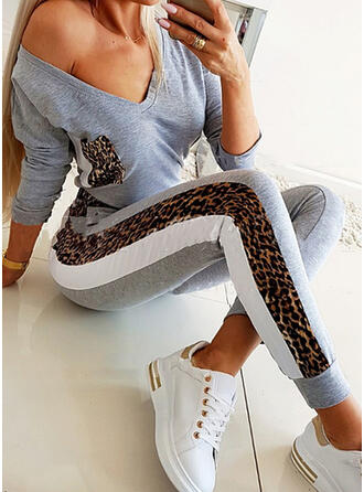 Leopard Plus Size Sexy Blouse & Two-Piece Outfits Set