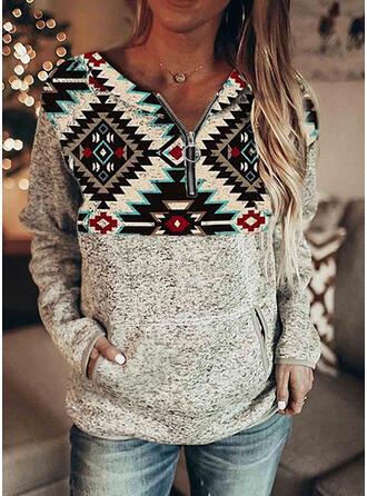 Print Pockets V-Neck Long Sleeves Sweatshirt