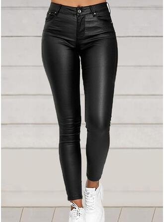 Couleur Unie Grande taille Longue Élégante Sexy Cuir Pantalon