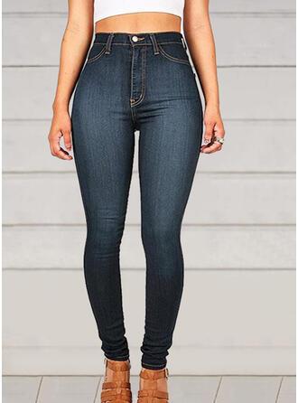 Couleur Unie Froncé Élégante Sexy Jeans