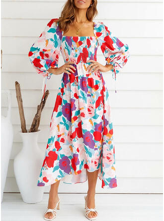 Print/Floral Long Sleeves Puff Sleeve A-line Skater Casual Midi Dresses