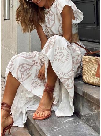 Print Short Sleeves A-line Skater Casual/Boho/Vacation Maxi Dresses