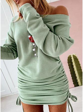 Paillettes Manches Longues Moulante Au-dessus Du Genou Noël/Décontractée Robe Sweat Robes
