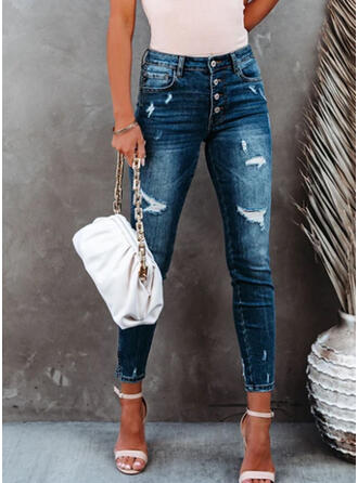 Solid Long Casual Plus Size Pocket Shirred Ripped Pants Denim & Jeans