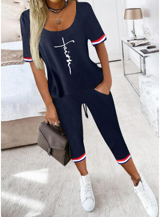 Letter Striped Print Sporty Plus Size Blouse & Two-Piece Outfits Set