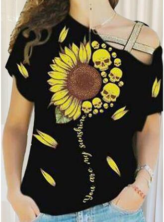 Sunflower Print One Shoulder Short Sleeves T-shirts