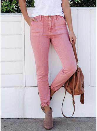 Couleur Unie Froncé Grande taille Longue Élégante Sexy Jeans