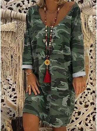 Imprimée Manches Longues Droite Longueur Genou Décontractée/Bohème Tunique Robes
