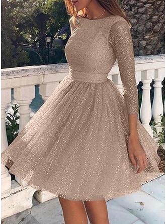 Couleur Unie Manches 3/4 Trapèze Longueur Genou Vintage/Sexy/Fête Patineuse Robes