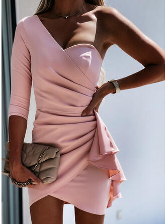 Solid 3/4 Sleeves Bodycon Above Knee Party/Elegant Dresses