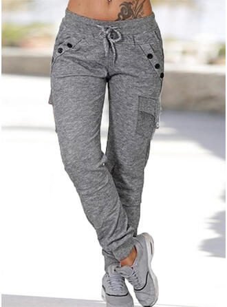 Solid Long Casual Sporty Plus Size Pocket Shirred Drawstring Button Pants