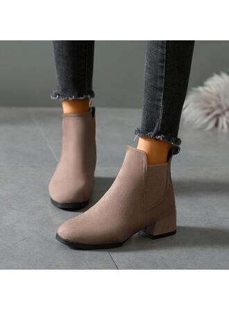 Femmes Suède Talon bottier Bottines bout rond avec Élastique Couleur unie chaussures