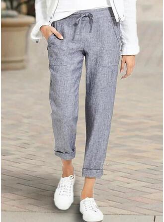 Les poches Froncé Grande taille midi Décontractée Longue Pantalon