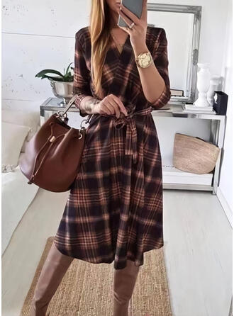 Print/Plaid 3/4 Sleeves A-line Knee Length Casual Wrap/Skater Dresses