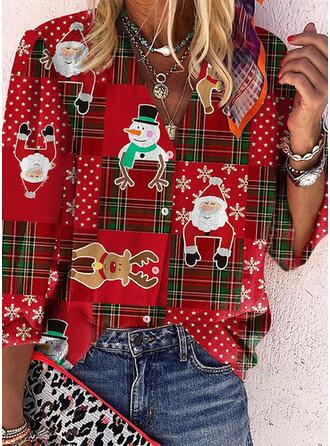 Christmas Solid Plaid Santa V-Neck Long Sleeves Casual Blouses