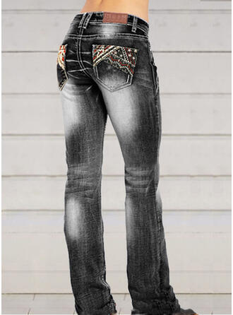 Broderie Froncé Grande taille Élégante Sexy Jeans