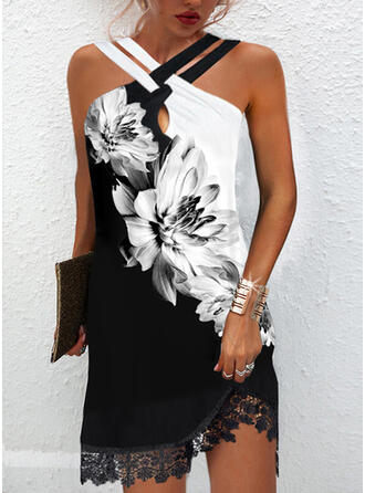 Print/Floral/Color Block Lace Sleeveless Shift Above Knee Elegant Dresses