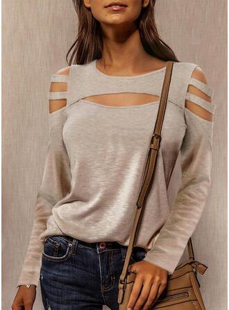Solid Cold Shoulder Long Sleeves Cold Shoulder Sleeve Casual Blouses
