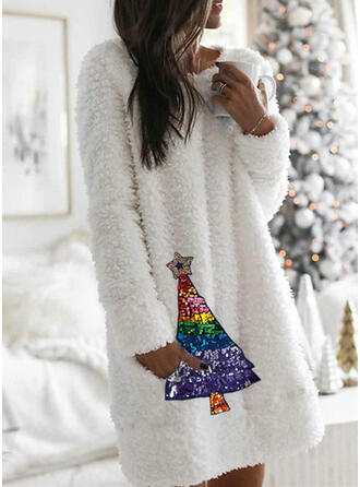 Paillettes Manches Longues Droite Longueur Genou Noël/Décontractée Tunique Robes