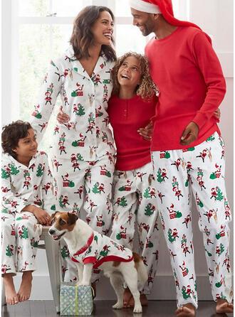 Père Noël Renne Inmprimé Tenue Familiale Assortie Pyjama De Noël