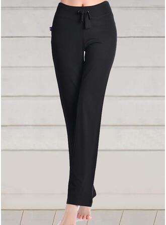 Couleur Unie Grande taille Cordon Longue Décontractée Maigre Yoga Pantalon