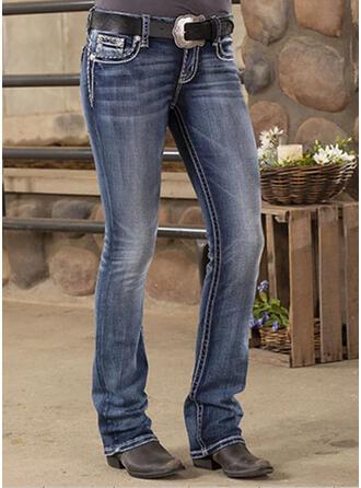 Froncé Grande taille Longue Décontractée Tribal Jeans