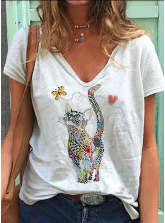Imprimé Animal Col V Manches Courtes Décontractée T-shirts