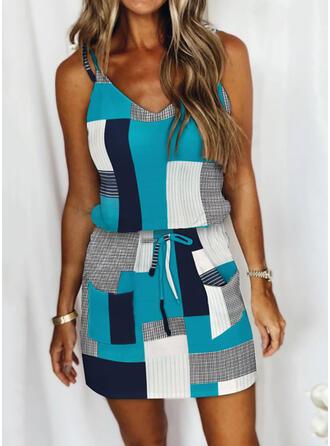 Print/Color Block/Striped/Plaid Sleeveless Sheath Above Knee Casual Slip Dresses