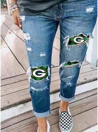 Imprimé Grande taille Déchiré Ancien Jeans