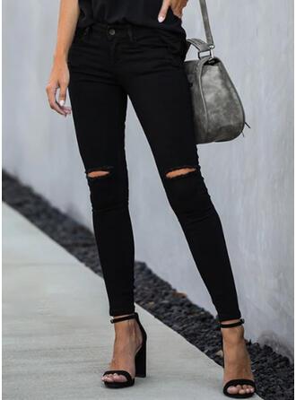 Couleur Unie Déchiré Élégante Maigre Jeans