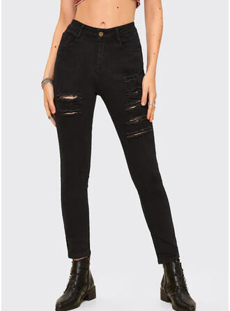 Couleur Unie Déchiré Longue Sexy Maigre Jeans