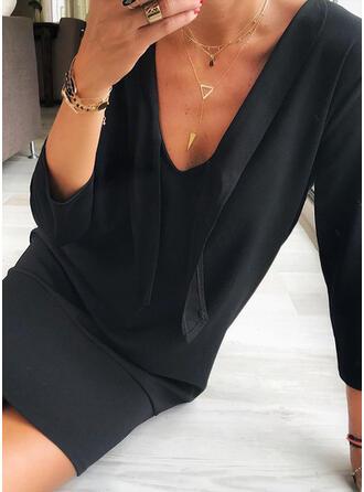 Couleur Unie Manches Longues Moulante Au-dessus Du Genou Petites Robes Noires/Décontractée Robes