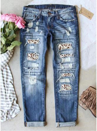 Print Denim Long Casual Plus Size Pocket Ripped Denim & Jeans