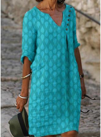 Imprimée Manches 1/2 Droite Longueur Genou Décontractée/Vacances Tunique Robes