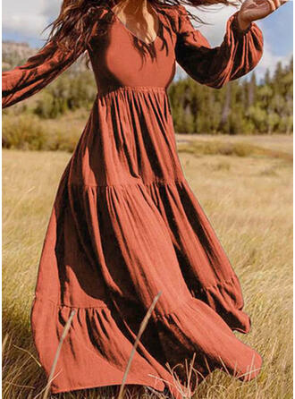 Couleur Unie Manches Longues Trapèze Patineuse Petites Robes Noires/Décontractée Maxi Robes