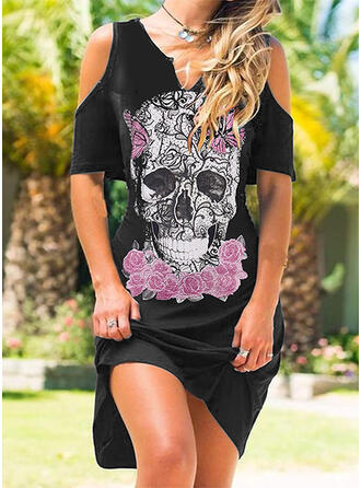 Print Short Sleeves Cold Shoulder Sleeve Shift Knee Length Casual Tunic Dresses