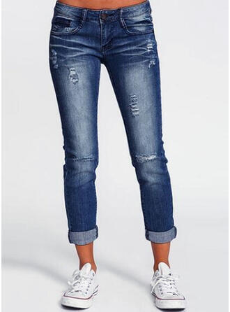 Solid Denim Cropped Casual Plus Size Pocket Shirred Ripped Pants