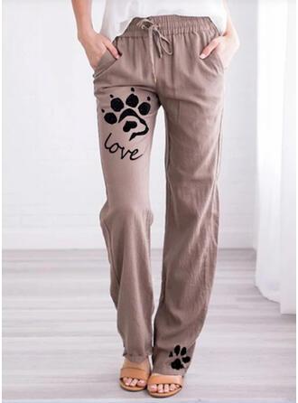La copie Animale Les poches Grande taille Longue Décontractée Imprimé Pantalon