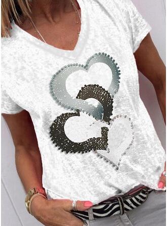 Imprimée Cœur Col V Manches Courtes Décontractée T-shirts