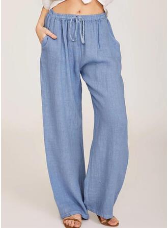 Les poches Froncé Grande taille Longue Décontractée Longue Pantalon