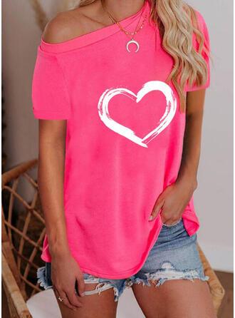 Heart Print One Shoulder Short Sleeves T-shirts