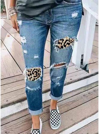 Leopard Tribal Cotton Long Casual Vacation Plus Size Pocket Ripped Pants Denim & Jeans