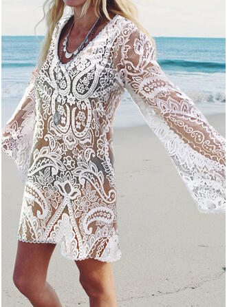 Lace/Solid Long Sleeves Shift Above Knee Vacation Tunic Dresses