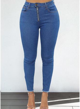Couleur Unie Grande taille Élégante Jeans