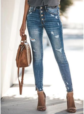Les poches Déchiré Longue Élégante Sexy Jeans