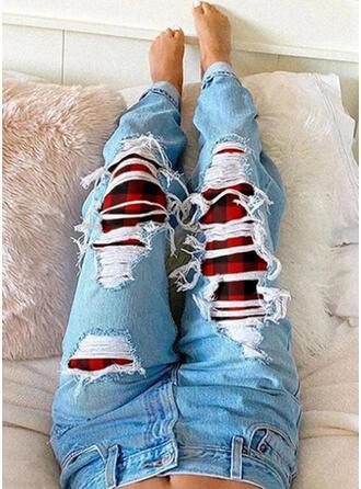 Carreaux Grande taille Déchiré Tribal Ancien Jeans