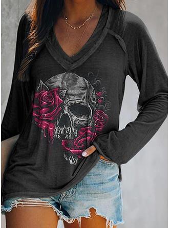 Halloween Floral Heart Print Skull head V-Neck Long Sleeves T-shirts
