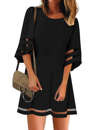 Solid 1/2 Sleeves Shift Above Knee Little Black/Casual Tunic Dresses