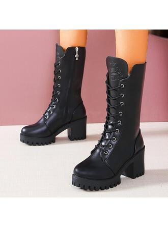 Femmes PU Talon bottier Bottes mi-mollets bout rond Martin bottes avec Dentelle Couleur unie chaussures