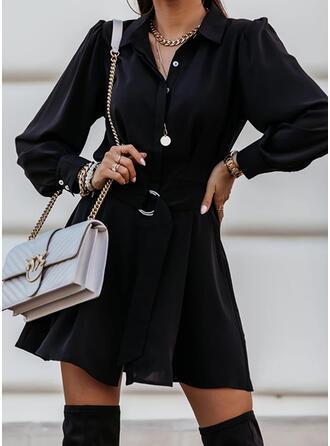 Couleur Unie Manches Longues Trapèze Au-dessus Du Genou Petites Robes Noires/Décontractée Chemise/Patineuse Robes